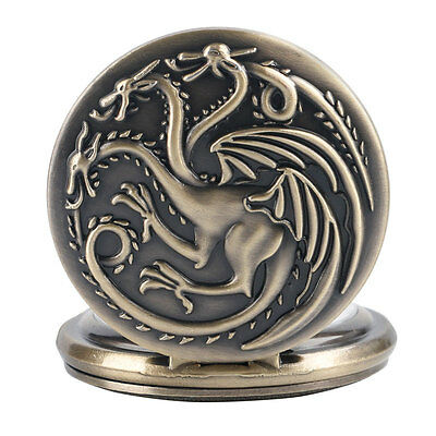 Cool Game of Thrones Antique Style Pocket Watch House Targaryen Emblem Necklace