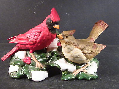 Homco CARDINAL COUPLE ON SNOWY HOLLY BRANCH