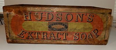 Antique English Hudson's Extract of Soap Wooden Box / Crate