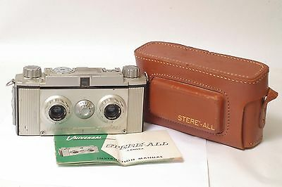 F61059~ Unusual Universal Stere-All Stereo 35mm Camera & Case – Needs Servicing