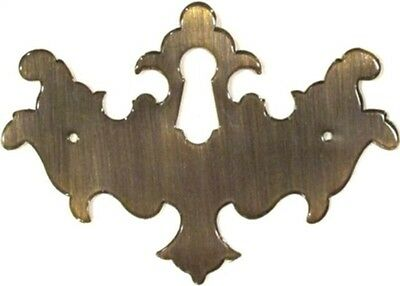 Antiqued Stamped Brass Chippendale Style Keyhole Cover Overall vintage new