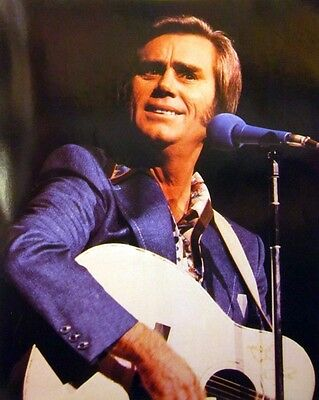 GEORGE JONES smiles country clipping 1980s color photo Grand Ole Opry denim suit