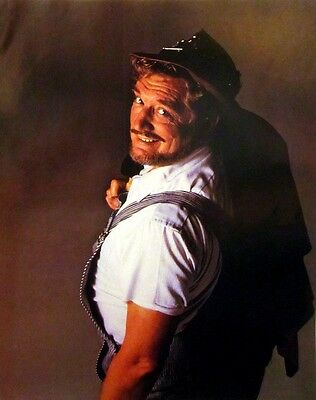 BOXCAR WILLIE country clipping 1980s color photo Grand Ole Opry overalls hobo