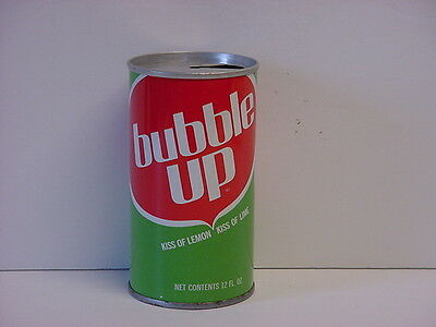 Vintage Bubble Up Straight Steel Soda Can Pull Tab Top Opened