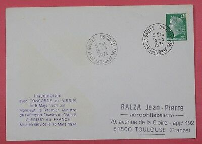 1974 France Cover Concorde & Airbus Inauguration