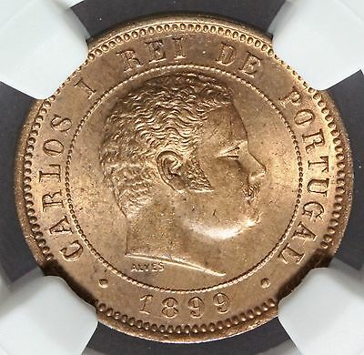 1899 Portugal 5 Five Reis Bronze Coin - NGC MS 64 RB - KM# 530