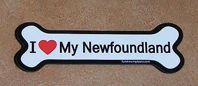 "I Love My Newfoundland Dog Bone Car Magnet Large 2"" X 7"" Fridge USA Gift Newfie"
