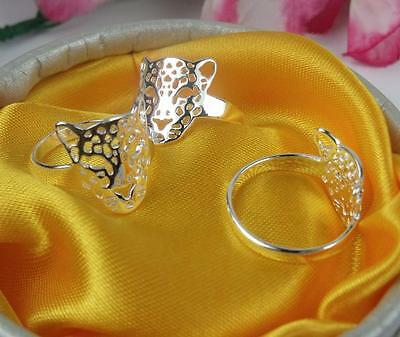 Hot !! Wholesale 5pcs NF 925 Silver Leopard Head Rings 6-8