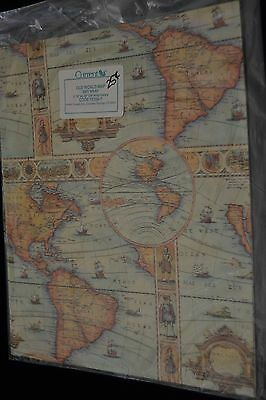 Vintage 90's Current Inc OLD WORLD MAP Gift Wrap EXPLORERS Sealed! 15399-7
