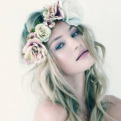 Boho Floral Flower Crown Headband Hair Garland Wedding Party Headpiece Hairband