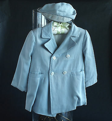 Vintage toddlers little blue coat and matching cap 1940's