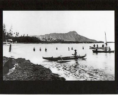 "OUTRIGGER CANOE AT WAIKIKI BEACH HONOLULU 1890s(?)  PHOTOGRAPH ON 8x10"" MAT"