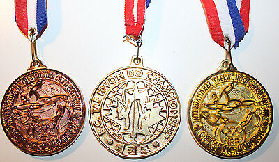 3x Taekwondo Assorted Medals Canada School Olympic Sport Richmond Gold Bronze