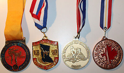 4x Taekwondo Assorted Medals Canada Military Olympic Sport Gold Bronze (1997 BC)