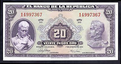 Colombia. 20 Pesos, DD 14997367, 1-1-1951, Almost Uncirculated.