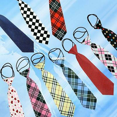 10 Styles School Boys Girls Children Ties Kids Elastic Necktie Party Wedding Tie