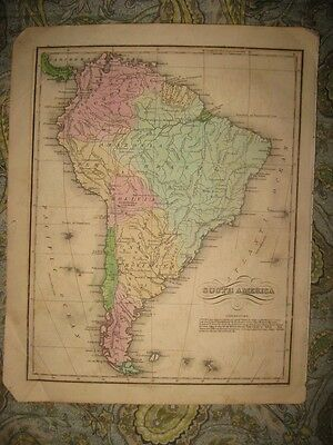 Superb Antique 1835 South America Hndclr Map Brazil Patagonia Argentina Amazonia