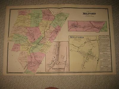 Antique 1868 Milford Portlandville Colliersville Otsego County New York Map Rare
