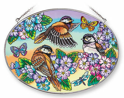 """Amia Stained Glass Suncatcher 6.5"""" X 9"""" Oval Birds And Blossoms Flowers  #42206"""