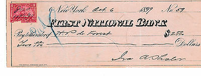 1899 First National Bank, New York  W/revenue Stamp