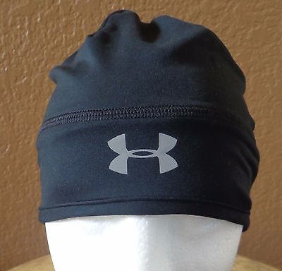 Under Armour Women s Cold Gear Infrared Run Beanie Black Reflective Silver  New 3fb8c6378c2