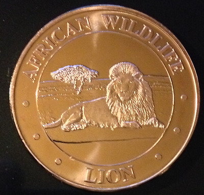 1 Oz Copper Round African Wildlife Series - Lion