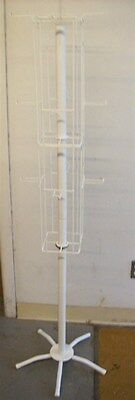 Store Display Fixtures FLOOR MODEL 3 LEVEL PEG SPINNER DISPLAY RACK WHITE 4 SIDE