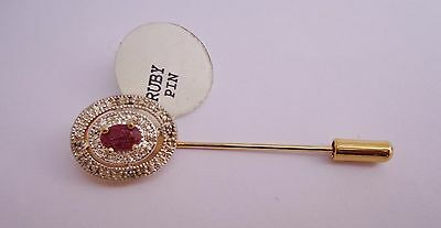 Ruby 9Ct Gold  Stick Pin Tie Brooch