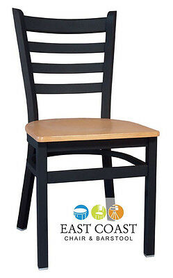 New Gladiator Ladder Back Metal Restaurant Chair with Natural Wood Seat
