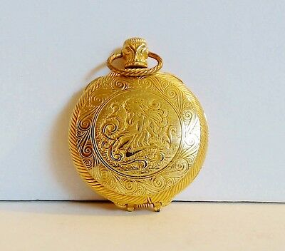 Max Factor Solid Perfume Watch Compact Aquarius Water Goddess Engraved Full EUC