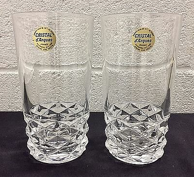 Set of 2 Cristal d' Arques France Diamond Crystal Tumblers