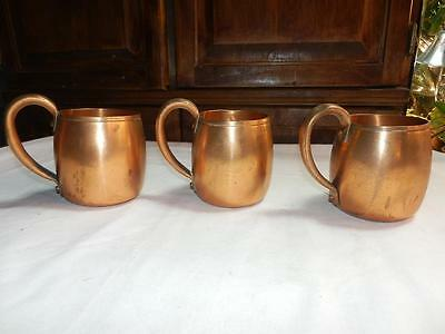 3 West Bend Solid Copper Mugs