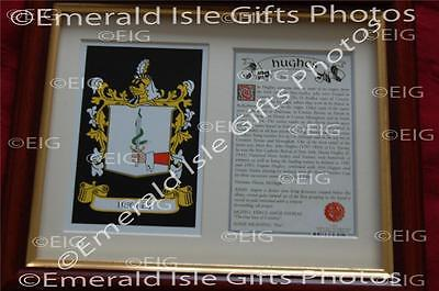 HUGHES Heraldic Framed Coat of Arms Crest and Family History