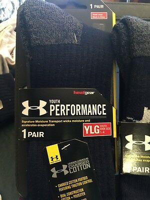Under Armour Youth Performance 1 Pair Crew Socks YLG Shoe Size 1 - 4  Navy Blue