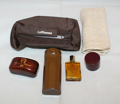 Lufthansa Airlines Germany Flight Amenity Pouch Bag Set Brown 5 Item Total Towel