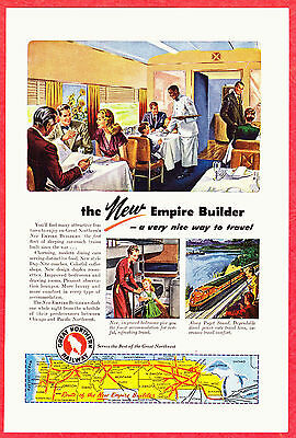 1947 Ad ~ GREAT NORTHERN Railway Railroad RR ~The New Empire Builder Dining Car