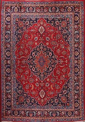 Antique Hand Knoted Traditional Floral Red 8x12 Mashad Persian Oriental Area Rug