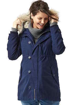 Gap $198 New Maternity Dark Night 2 In 1 Faux Fur Hooded Parka Coat Jacket  Xl