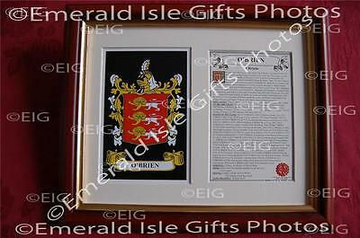 O'BRIEN Heraldic Framed Coat of Arms Crest and Family History
