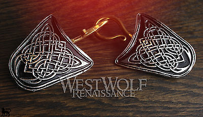 Large Celtic Knot Cloak Pins/Clasps Set --- Medieval/Viking/Coat/Brooch/Silver