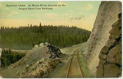 c1910 Idaho Warm River Canyon on the Oregon Short Line Railroad