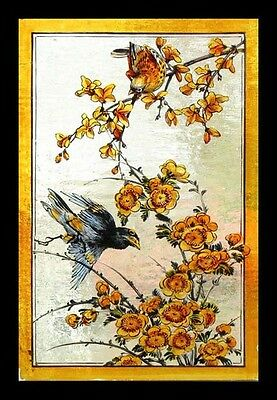 Rare Antique English Painted Birds In Blossom Victorian Stained Glass Window