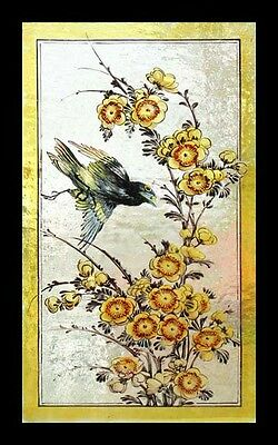 Rare Antique English Painted Bird In Blossom Victorian Stained Glass Window