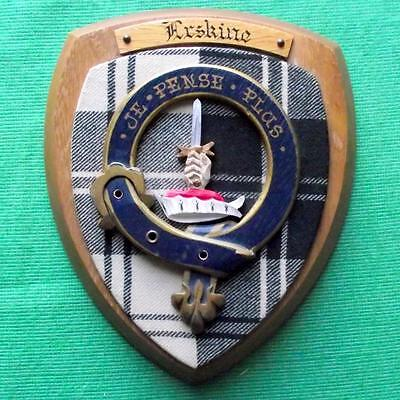 Vintage Old Scottish Clan Erskine Tartan Heavy Oak Plaque Crest Shield