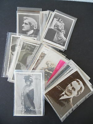 Lot of 50 Early 1900s European Theater Movie Star Actor Actress RP Postcards