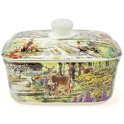 Leonardo Collection Country Deer Rabbits Wildlife Butter Dish Storage lp92888