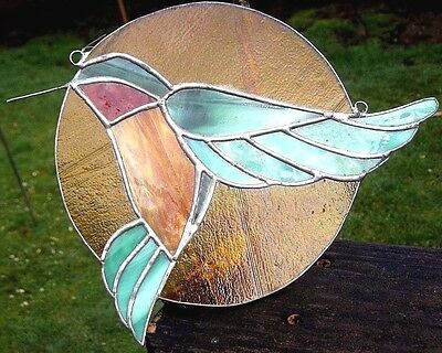 Vintage Authentic Stained Glass Humming Bird Window Hanging Round Sun Catcher