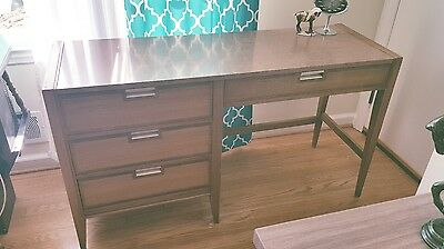 Vintage Mid Century Modern Long Shallow Writing Desk MCM Solid wood Formica top