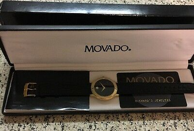 Movado Museum Gold Plated Watch Brand New Box and Card