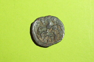 Ancient CELTIC COIN horse BELLOVAQUE NORTH CENTRAL GAUL 100 BC annulet old Greek